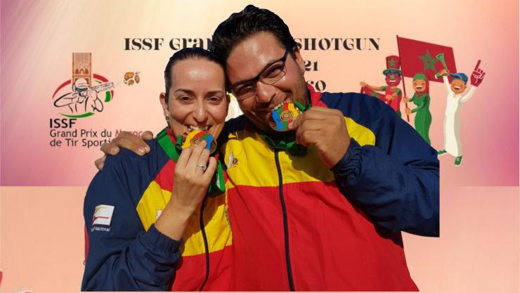 Alberto Fernández y Fátima Gálvez Medalla de Oro en Mixtos en el Grand Prix ISSF Foso Olímpico en Rabbat (Marruecos)